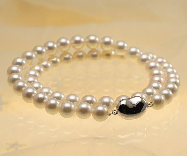 【真珠の本場 伊勢志摩よりお届け】7.5-8.0mm深みのあるピンクグリーン♪あこや本真珠ネックレス【nc0502】