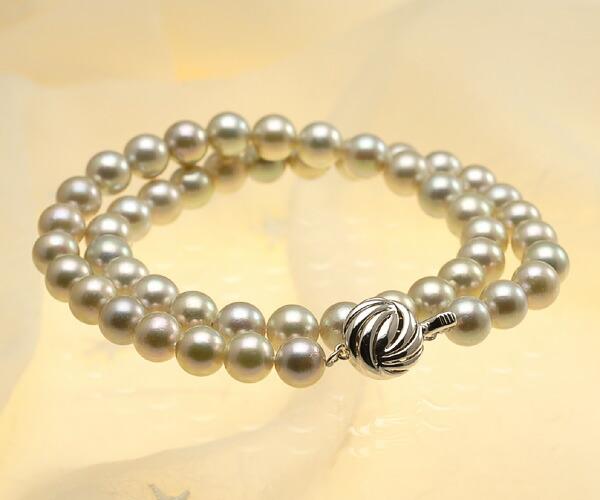 【真珠の本場 伊勢志摩よりお届け】シャンパンゴールドの華やかな色目♪8.0-8.5mmあこや本真珠シルバーグレーネックレス