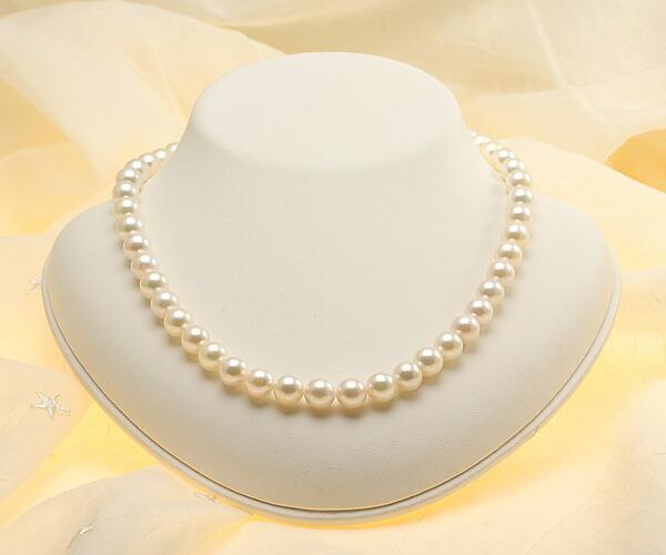 【真珠の本場 伊勢志摩よりお届け】優しいピンクグリーン♪8.0~9.0mmあこや本真珠ネックレス【nc0617】