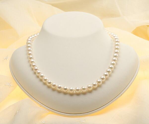 【真珠の本場 伊勢志摩よりお届け】7.5〜8.0mm淡いピンクグリーン♪あこや本真珠ネックレス【nc0631】