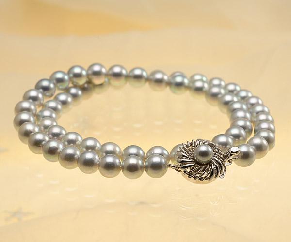 【真珠の本場 伊勢志摩よりお届け】深みのあるグレー♪7.0-7.5mm あこや本真珠シルバーグレーパールネックレス【nc0660】(全体アップ)