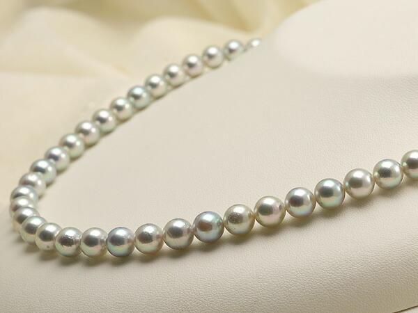 【真珠の本場 伊勢志摩よりお届け】シルバーグレーにほんのりピンク♪7.5-8.0mmあこや本真珠シルバーグレーネックレス