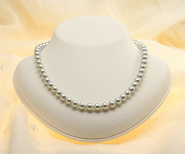 【真珠の本場 伊勢志摩よりお届け】深みのあるグレーが魅力♪7.5-8.0mmあこや本真珠シルバーグレーネックレス