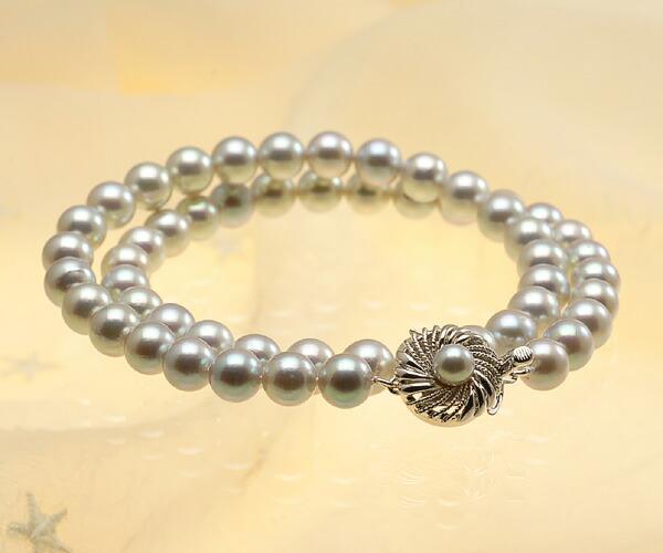 【真珠の本場 伊勢志摩よりお届け】淡いピンクが差す明るいグレー♪7.5-8.0mmあこや本真珠シルバーグレーネックレス