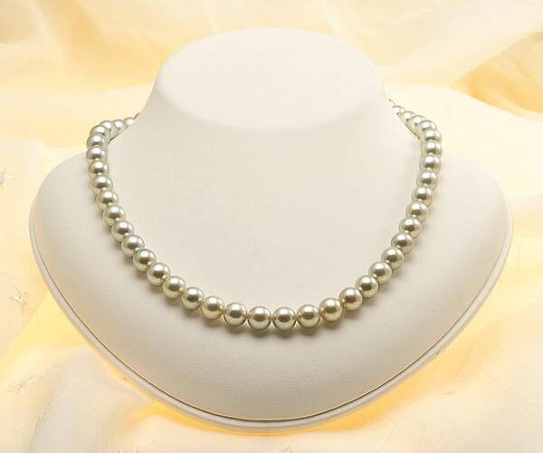 【真珠の本場 伊勢志摩よりお届け】華やかなシャンパンゴールド♪8.0-8.5mmあこや本真珠シルバーグレーネックレス