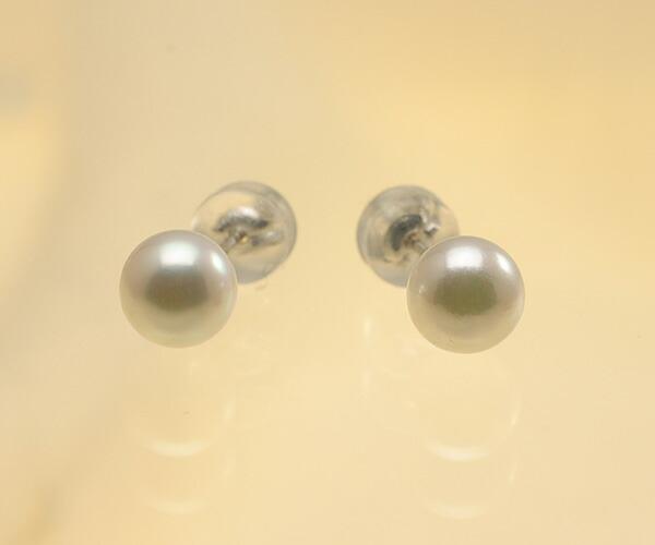 【真珠の本場 伊勢志摩よりお届け】ほんのり淡いピンクグリーン♪6.0mmあこや本真珠ピアス【pi0121】