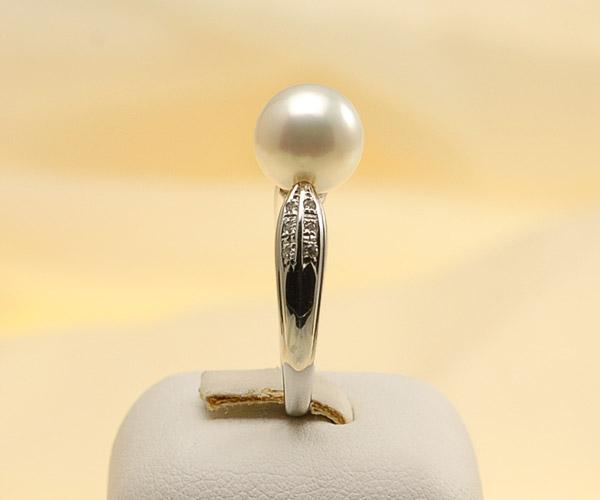 【真珠の本場 伊勢志摩よりお届け】ほんのり淡いピンクグリーン♪9.0mmあこや本真珠プラチナパールリング【rg0008】