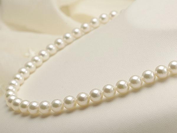 【真珠の本場 伊勢志摩よりお届け】ほんのり淡いグリーンピンク♪7.5-8.0mmあこや本真珠準花珠パールネックレス(鑑別書付)【137970】
