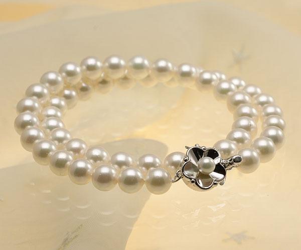 【真珠の本場 伊勢志摩よりお届け】淡いグリーンにほのかなピンク♪8.0-8.5mmあこや本真珠準花珠ネックレス(鑑別書付)【137976】