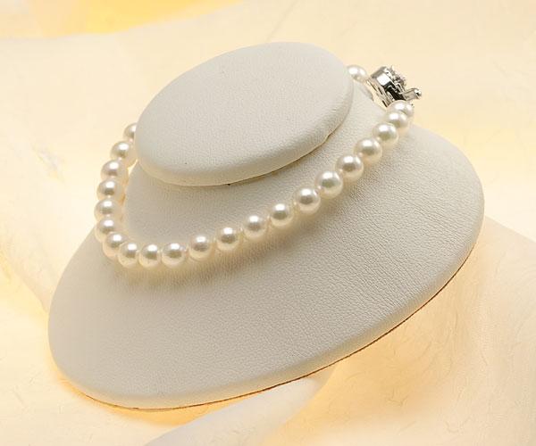 【真珠の本場 伊勢志摩よりお届け】ほんのり淡いグリーンピンク♪5.5-6.0mmあこや本真珠パールブレスレット【bl0013】