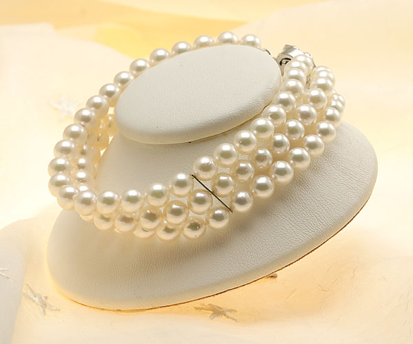 【真珠の本場 伊勢志摩よりお届け】淡いグリーンピンク♪6.0-6.5mmあこや本真珠3連パールブレスレット【bl0025】