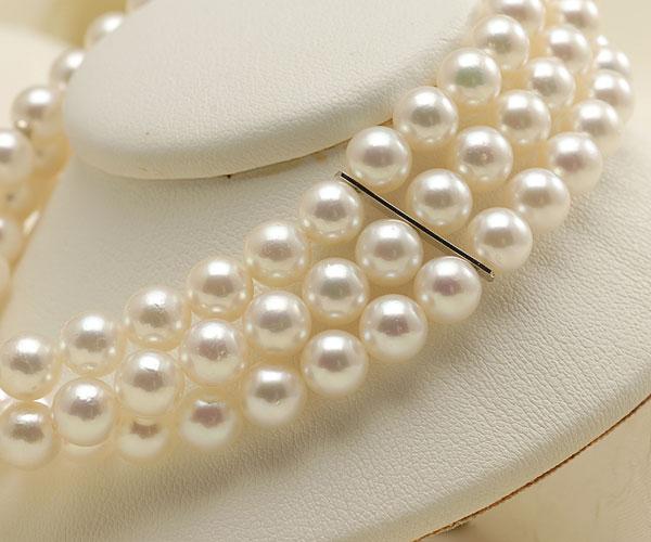 【真珠の本場 伊勢志摩よりお届け】優しい淡いピンク色♪6.0-6.5mmあこや本真珠3連パールブレスレット【bl0034】