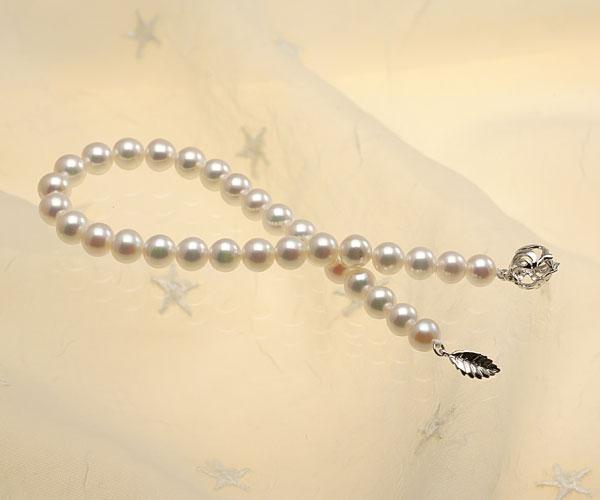 【真珠の本場 伊勢志摩よりお届け】ピンクグリーンの綺麗な色目♪6.0-6.5mmあこや本真珠パールブレスレット【bl0038】