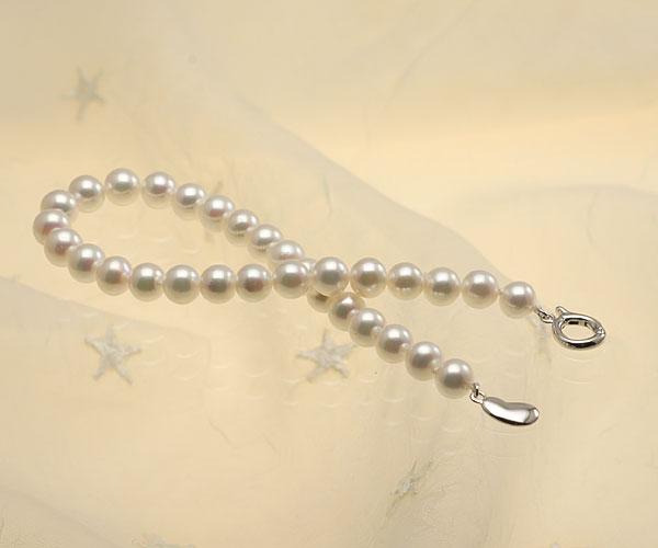 【真珠の本場 伊勢志摩よりお届け】ピンクグリーンの美しい色目♪あこや本真珠パールブレスレット【bl0045】