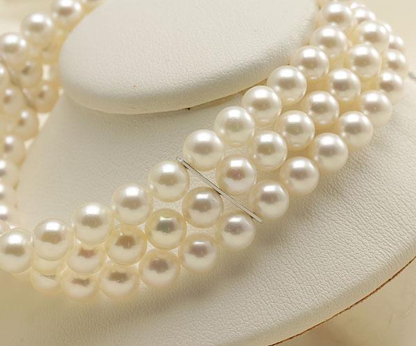 【真珠の本場 伊勢志摩よりお届け】ほのかな淡いピンク♪6.0-6.5mmあこや本真珠3連パールブレスレット【bl0050】
