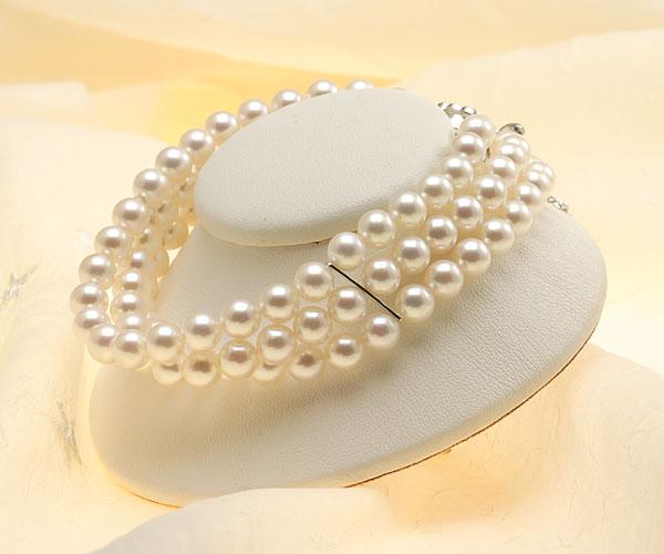 【真珠の本場 伊勢志摩よりお届け】淡い優しいピンクが魅力♪6.0-6.5mmあこや本真珠3連パールブレスレット【bl0053】