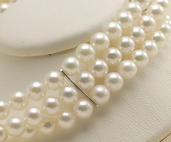 【真珠の本場 伊勢志摩よりお届け】ほのかなグリーンピンク♪5.5-6.0mmあこや本真珠3連パールブレスレット【bl0059】