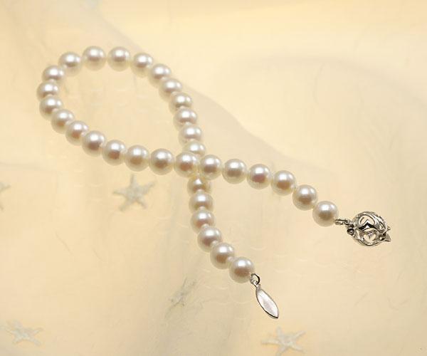 【真珠の本場 伊勢志摩よりお届け】ほんのり淡いピンク♪6.0mmあこや本真珠パールブレスレット【bl0077】