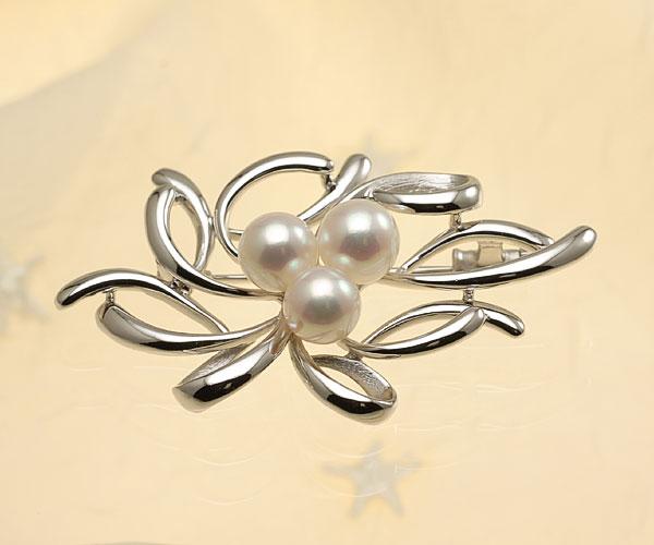 【真珠の本場 伊勢志摩よりお届け】淡いピンクグリーンが美しい♪7.0mmあこや本真珠パールブローチ【br0059】