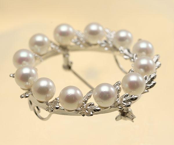 【真珠の本場 伊勢志摩よりお届け】小粒のパールが可愛らしい♪5.5mmあこや本真珠パールブローチ【br0073】