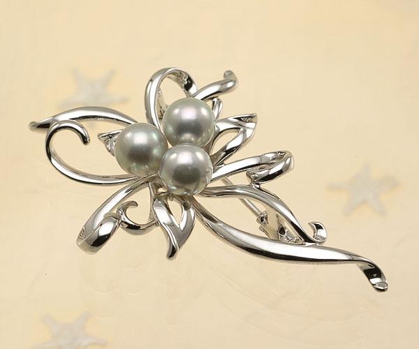 【真珠の本場 伊勢志摩よりお届け】落ち着いたシルバーグレー♪7.0mmあこや本真珠パールブローチ【br0076】