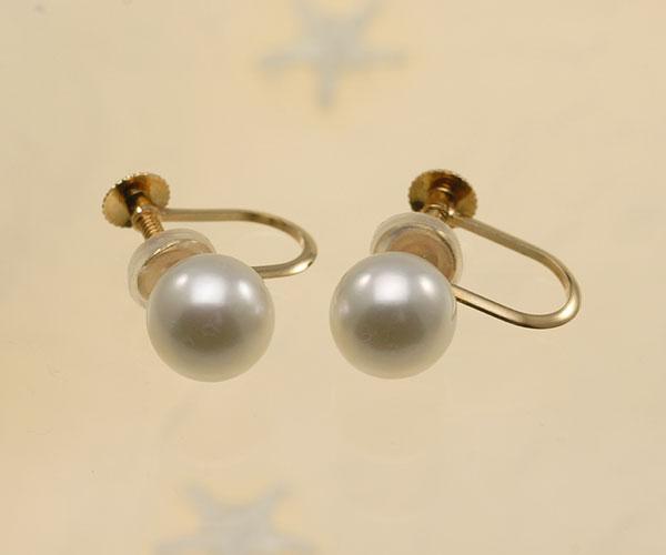 【真珠の本場 伊勢志摩よりお届け】ほのかに淡いグリーンピンク♪7.0mmあこや本真珠パールイヤリング(ネジ式 K18)【eg0102】