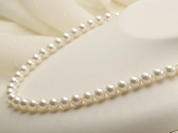 【真珠の本場 伊勢志摩よりお届け】7.5-8.0mm優しいピンクグリーンの色目♪あこや本真珠ネックレス【nc0155】