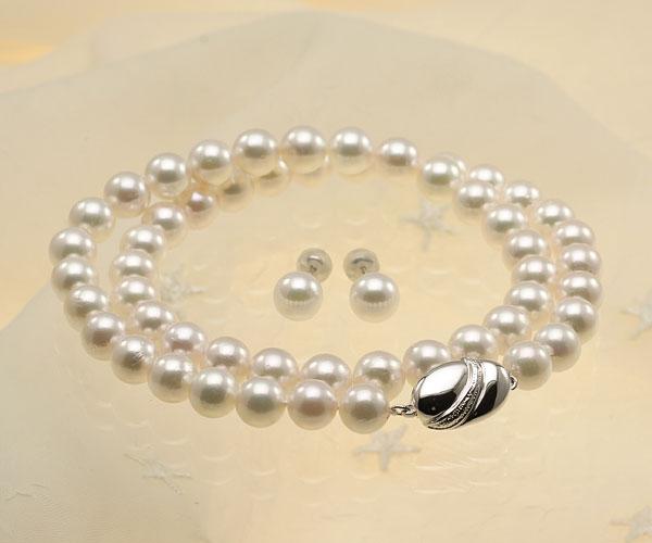 【真珠の本場 伊勢志摩よりお届け】上品で美しいピンクグリーン♪7.5-8.0mmあこや本真珠パールネックレス・ピアスセット【nc0243】
