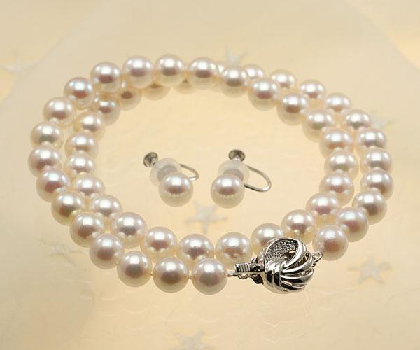 【真珠の本場 伊勢志摩よりお届け】華やかなピンク♪8.0-8.5mmあこや本真珠パールネックレス・イヤリングセット【nc0585】