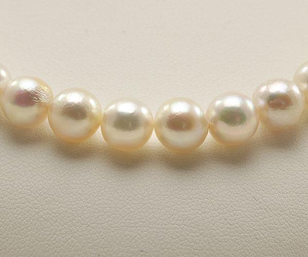 【真珠の本場 伊勢志摩よりお届け】淡いピンクとグリーン♪8.0〜8.5mmあこや本真珠バロックパールネックレス【nc0697】