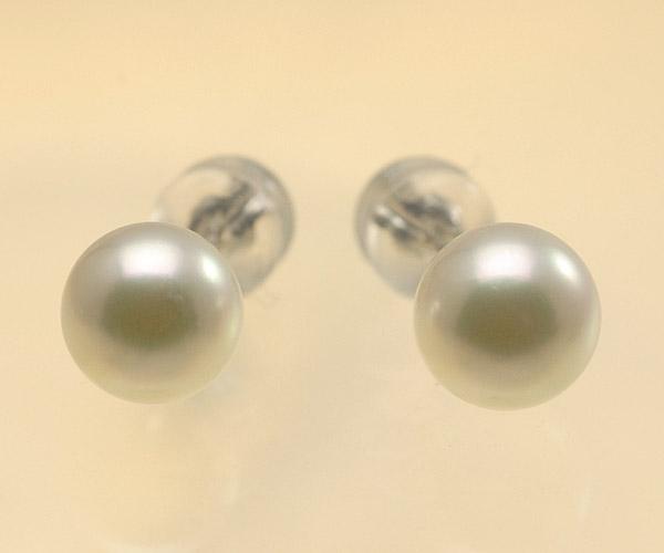 【真珠の本場 伊勢志摩よりお届け】ほのかに淡いグリーンピンク♪6.5mmあこや本真珠パールピアス(WG14K)【pi0125】