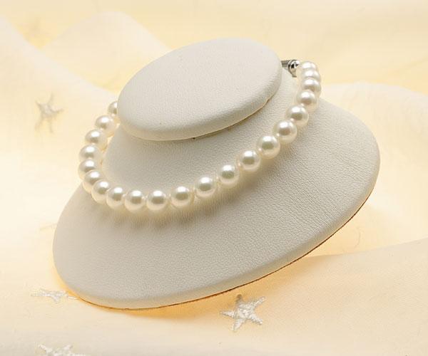 【真珠の本場 伊勢志摩よりお届け】淡いグリーンが魅力♪6.0-6.5mmあこや本真珠パールブレスレット【bl0009】