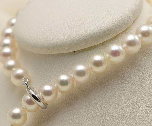 【真珠の本場 伊勢志摩よりお届け】淡いピンクにほんのりグリーン♪6.0-6.5mmあこや本真珠パールブレスレット【bl0047】