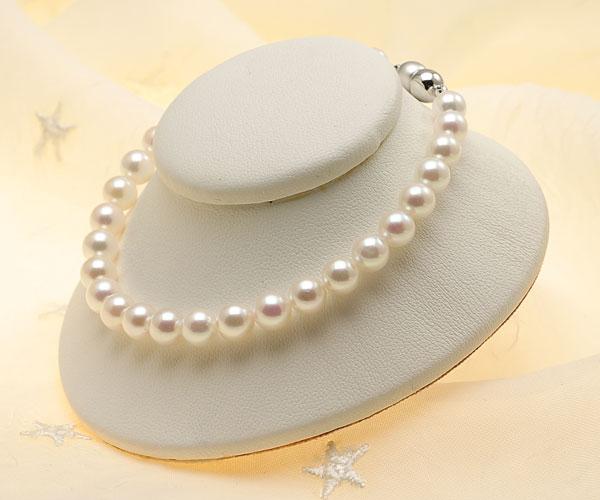 【真珠の本場 伊勢志摩よりお届け】淡い優しいピンク♪6.0-6.5mmあこや本真珠パールブレスレット【bl0048】
