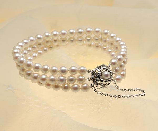 【真珠の本場 伊勢志摩よりお届け】華やかピンクが魅力♪6.0-6.5mmあこや本真珠3連パールブレスレット【bl0054】