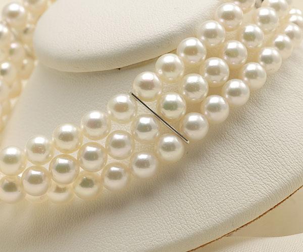 【真珠の本場 伊勢志摩よりお届け】淡いピンクグリーン♪5.5-6.0mmあこや本真珠3連パールブレスレット【bl0062】