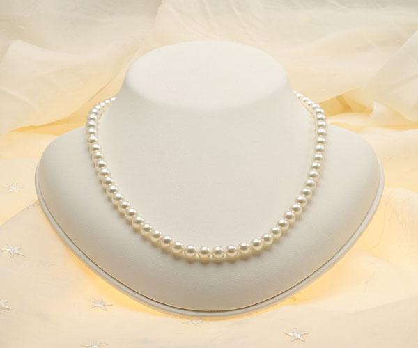 【真珠の本場 伊勢志摩よりお届け】6.0-6.5mm淡いグリーンにほんのりピンク♪あこや本真珠パールネックレス【nc0372】