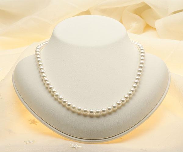 【真珠の本場 伊勢志摩よりお届け】6.0-6.5mm明るいほのかなピンク♪あこや本真珠パールネックレス【nc0373】