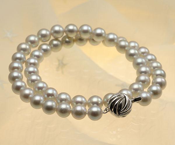 【真珠の本場 伊勢志摩よりお届け】淡いシルバーグレー♪8.0-8.5mmあこや本真珠シルバーグレーパールネックレス