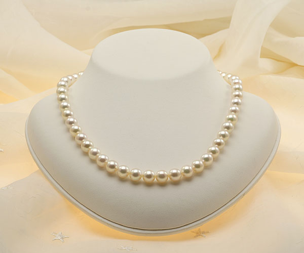 【真珠の本場 伊勢志摩よりお届け】8.0-8.5mm華やかな色目♪あこや本真珠ネックレス・ピアスセット【nc0590】
