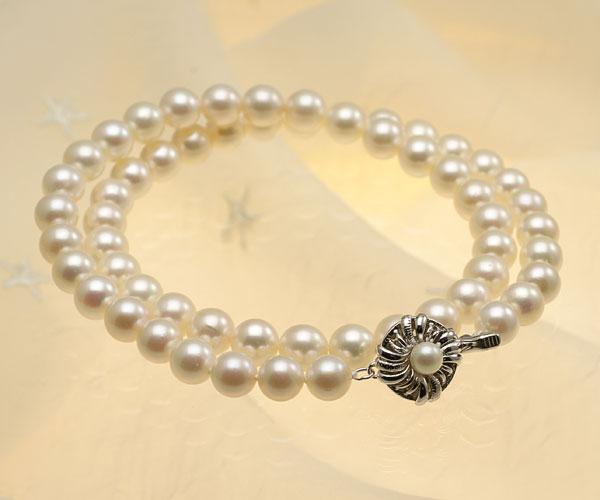 【真珠の本場 伊勢志摩よりお届け】淡い干渉色が美しい♪7.0〜7.5mmあこや本真珠パールネックレス【nc0648】