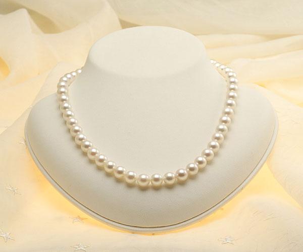 【真珠の本場 伊勢志摩よりお届け】上品でほんのり淡いピンク♪8.0〜8.5mmあこや本真珠ネックレス【nc0659】