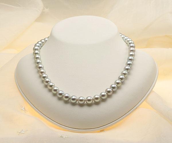 【真珠の本場 伊勢志摩よりお届け】深みのあるグレーが魅力♪8.5〜9.0mm あこや本真珠シルバーグレーパールネックレス【nc0677】(正面)