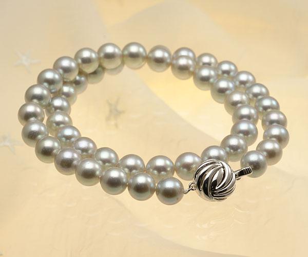 【真珠の本場 伊勢志摩よりお届け】深みのあるグレーが魅力♪8.5〜9.0mm あこや本真珠シルバーグレーパールネックレス【nc0677】(全体アップ)
