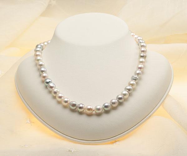 【真珠の本場 伊勢志摩よりお届け】普段使いにオススメ♪8.5〜9.0mmあこや本真珠マルチカラーバロックパールネックレス