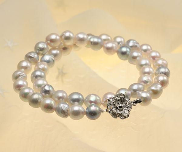 【真珠の本場 伊勢志摩よりお届け】普段使いにオススメ♪8.5〜9.0mmあこや本真珠バロックパールネックレス