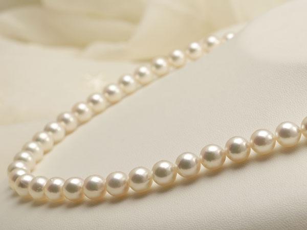 【真珠の本場 伊勢志摩よりお届け】7.5-8.0mm干渉色が美しい♪あこや本真珠パールネックレス【nc0755】