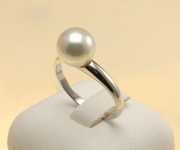 【真珠の本場 伊勢志摩よりお届け】ピンクグリーンの華やかな輝き♪8.5mmあこや本真珠プラチナパールリング【rg0011】