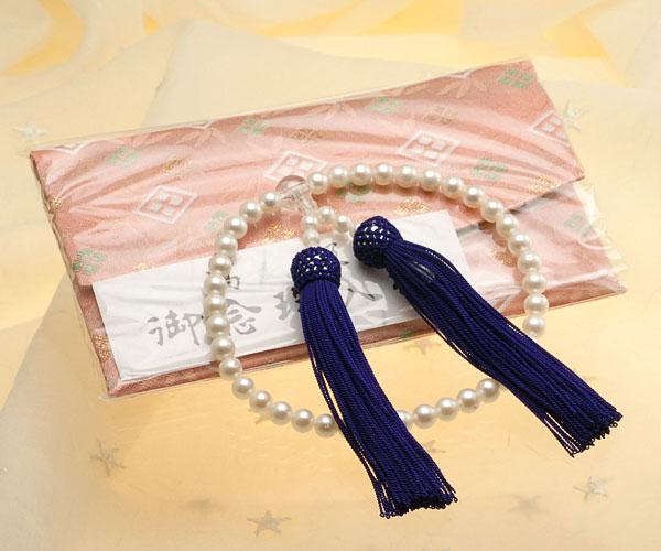 【真珠の本場 伊勢志摩よりお届け】ほのかなピンクの落ち着いた色目♪6.5〜7.0mm あこや本真珠念珠(数珠)【ry0006】