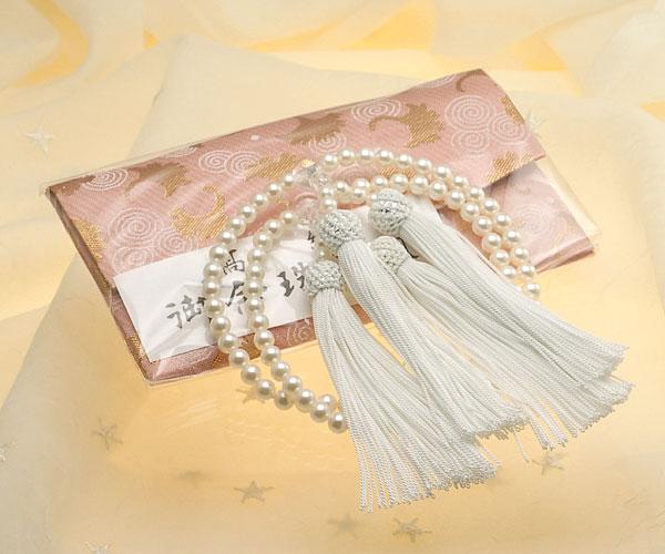 【真珠の本場 伊勢志摩よりお届け】淡い綺麗な干渉色♪6.0〜6.5mmあこや本真珠念珠(数珠)2連【ry0045】